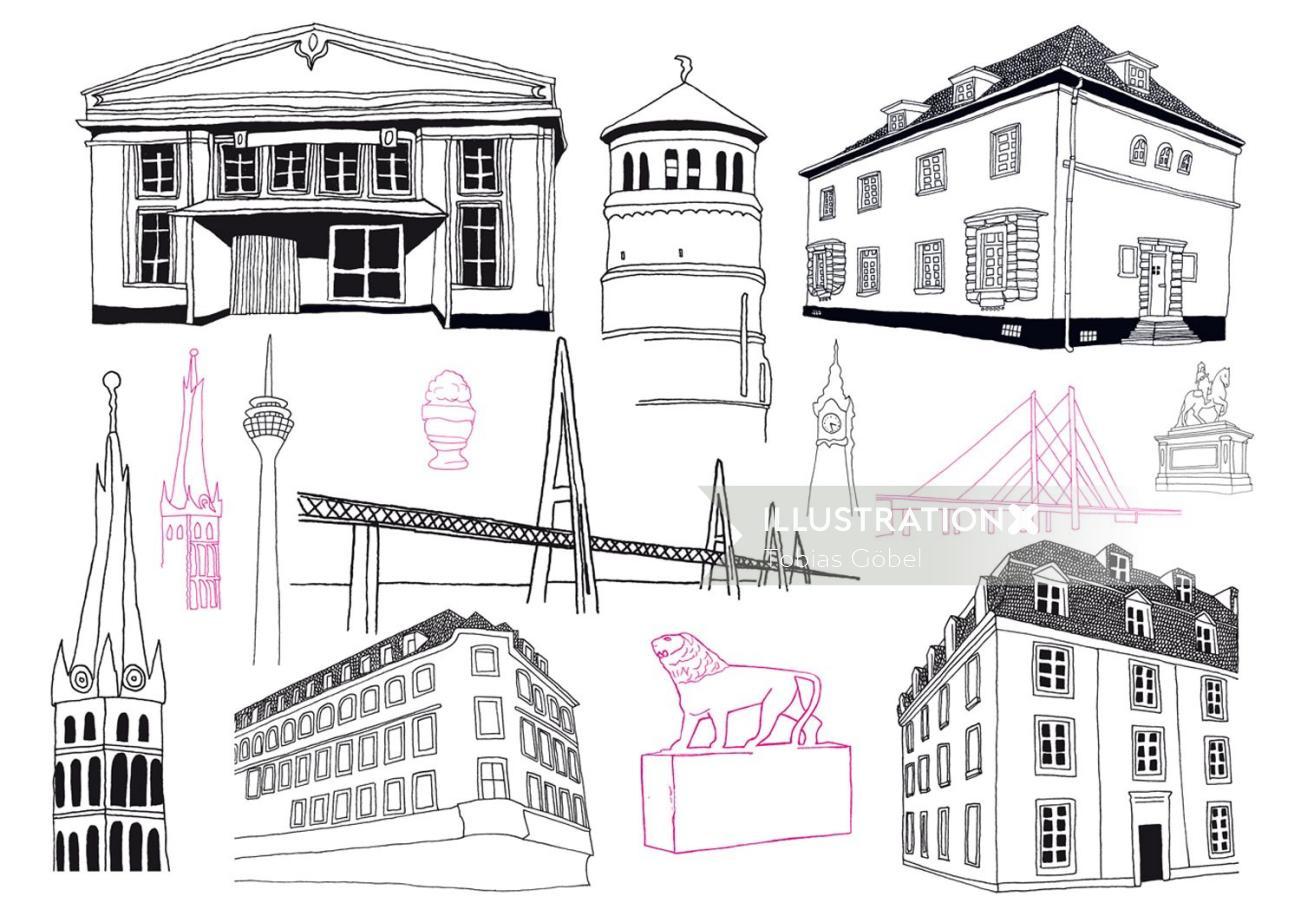 Line art building architecture