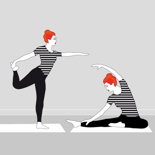 Graphic women doing yoga