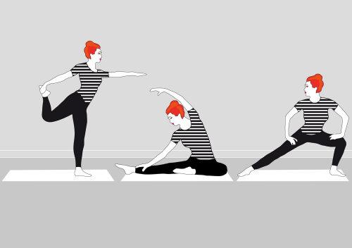 Femmes graphiques faisant du yoga