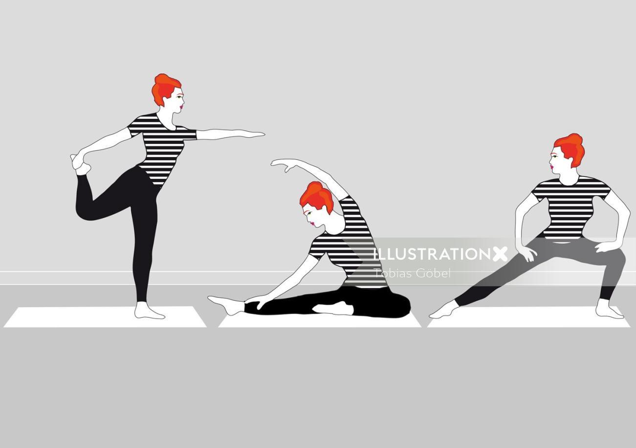 Graphic women doing yoga