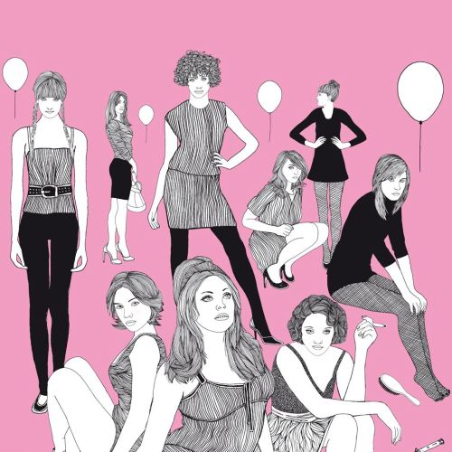 Illustration of beautiful girls in different style dresses