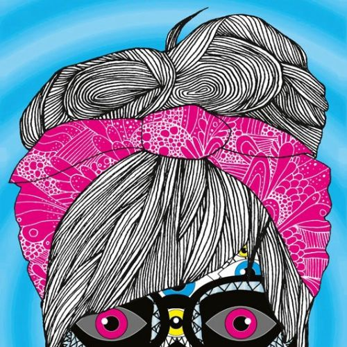 Graphic flyer woman with eyes face mask