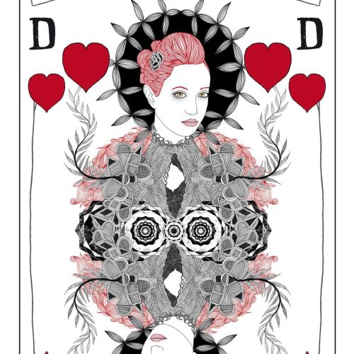 Beauty on playing card hearts