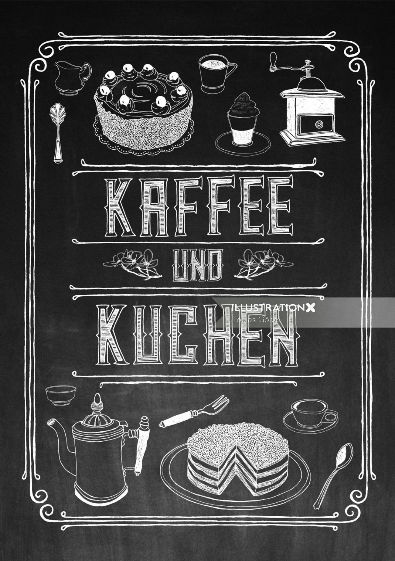 Lettering Kaffee und Kuchen