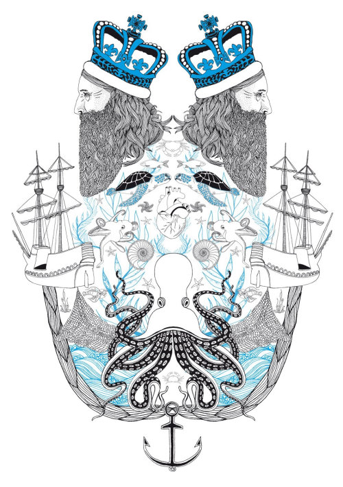 Line art mixed king and sea