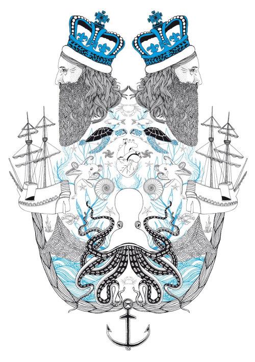 线条艺术混合国王和海
