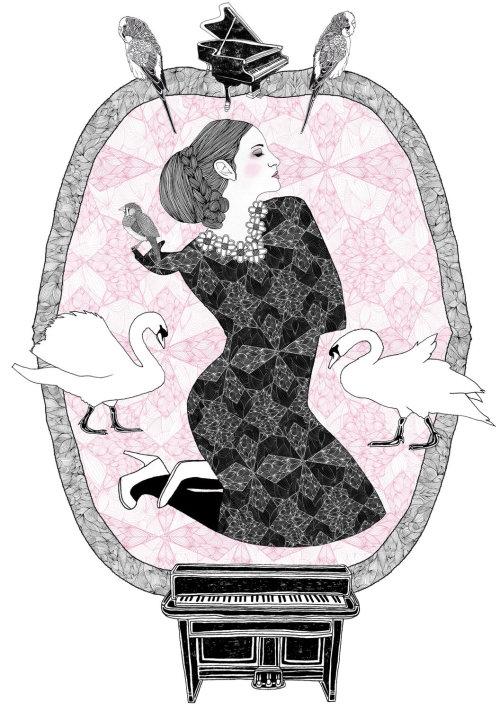 框架中的美丽艺术女人