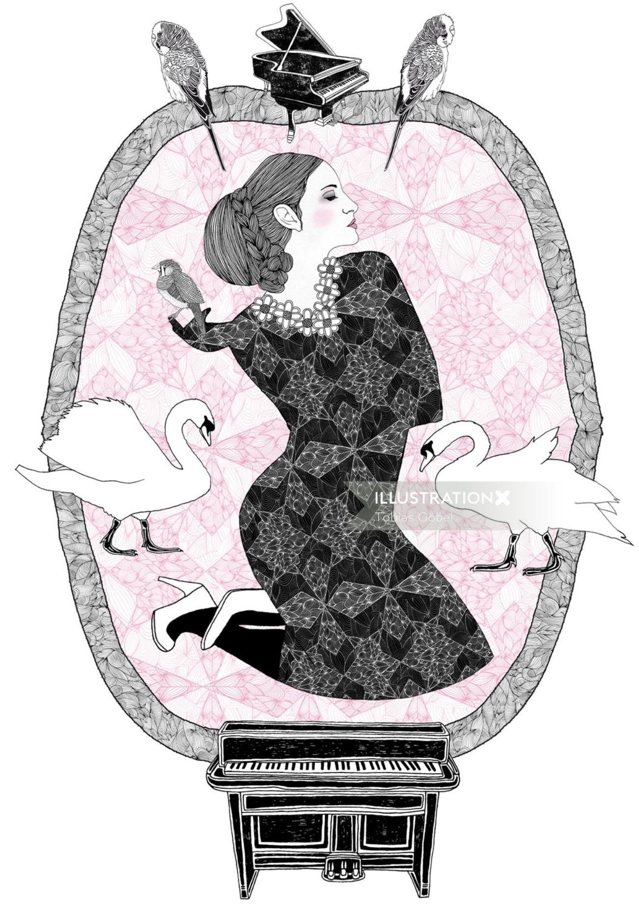 Beauty art woman in frame