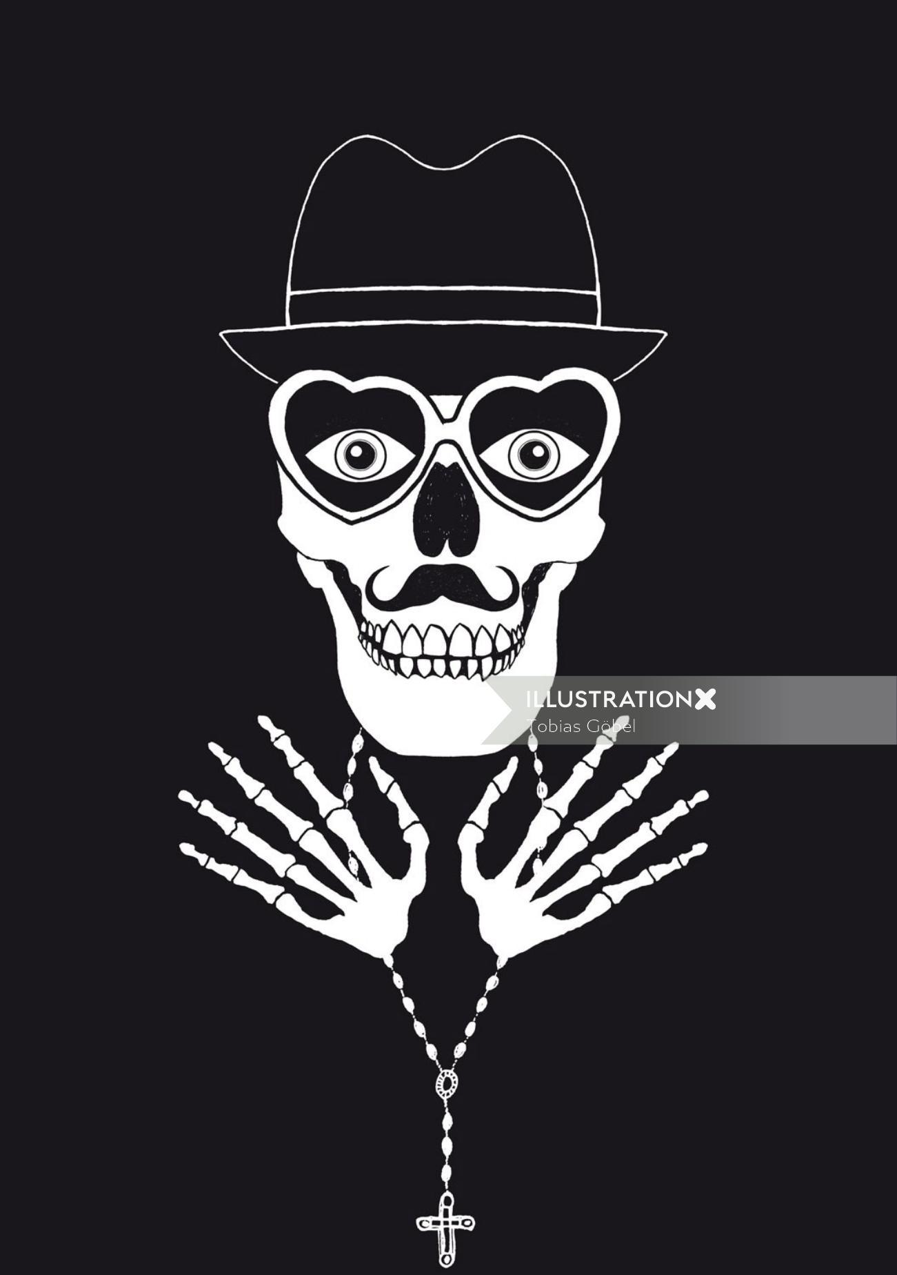 Graphic strange skeleton