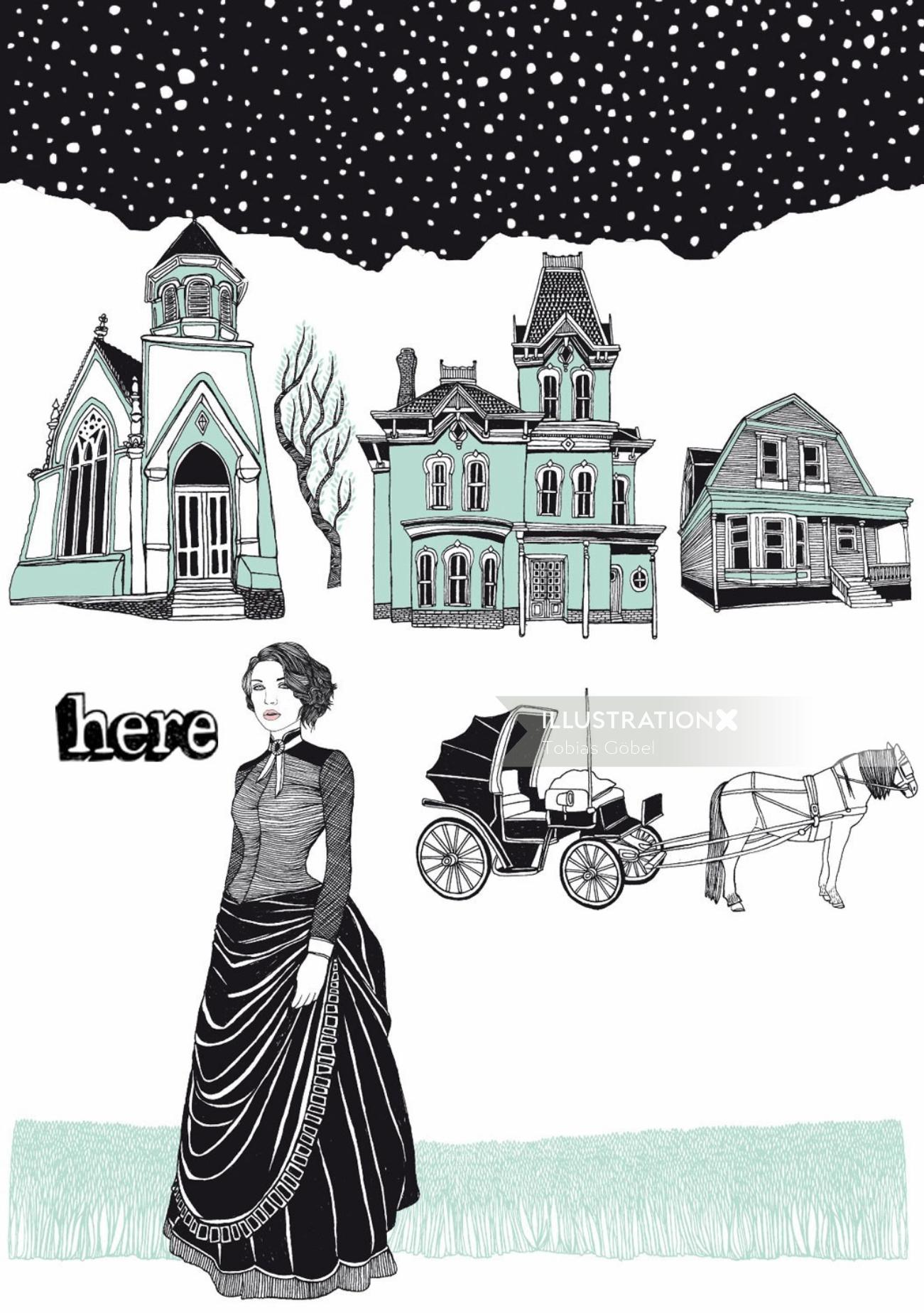 Vector architecture of buildings and woman