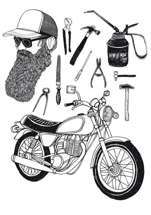 自行车配件的线条艺术