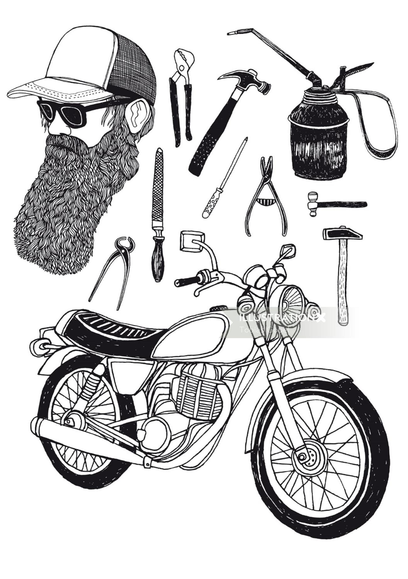 Line art of Bicycle accessories