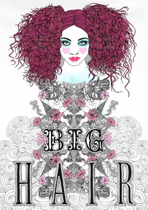 时尚女人大头发