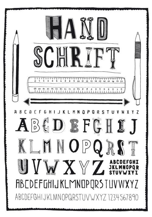 黑白手schrift