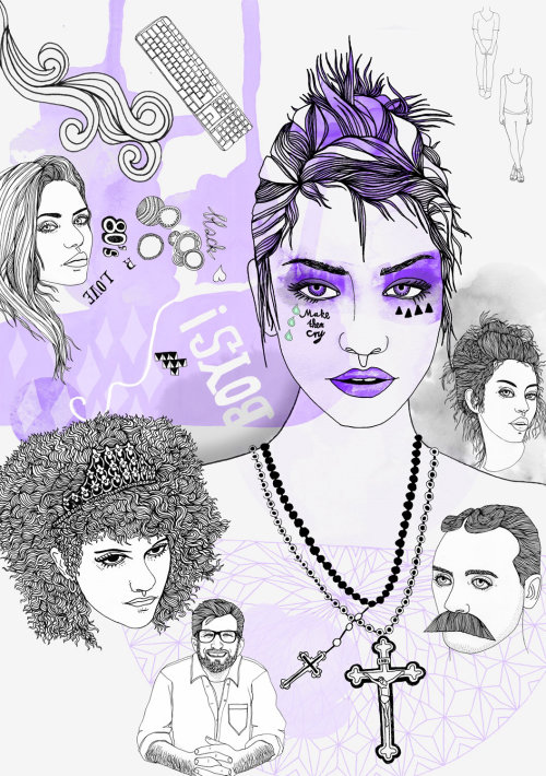 Beauty with purple designs