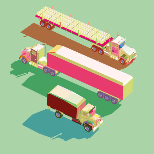 Different trucks vector illustration