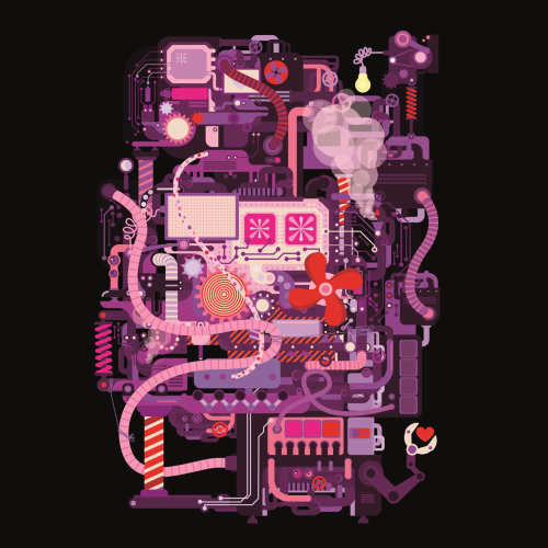 Pop art illustration of machine