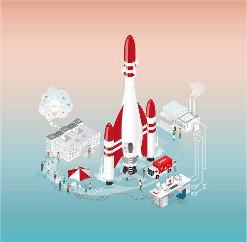 Graphic illustration of Satellite station