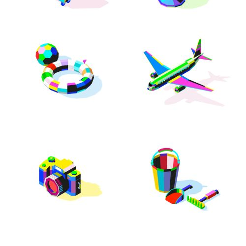 Kids toy icons illustration