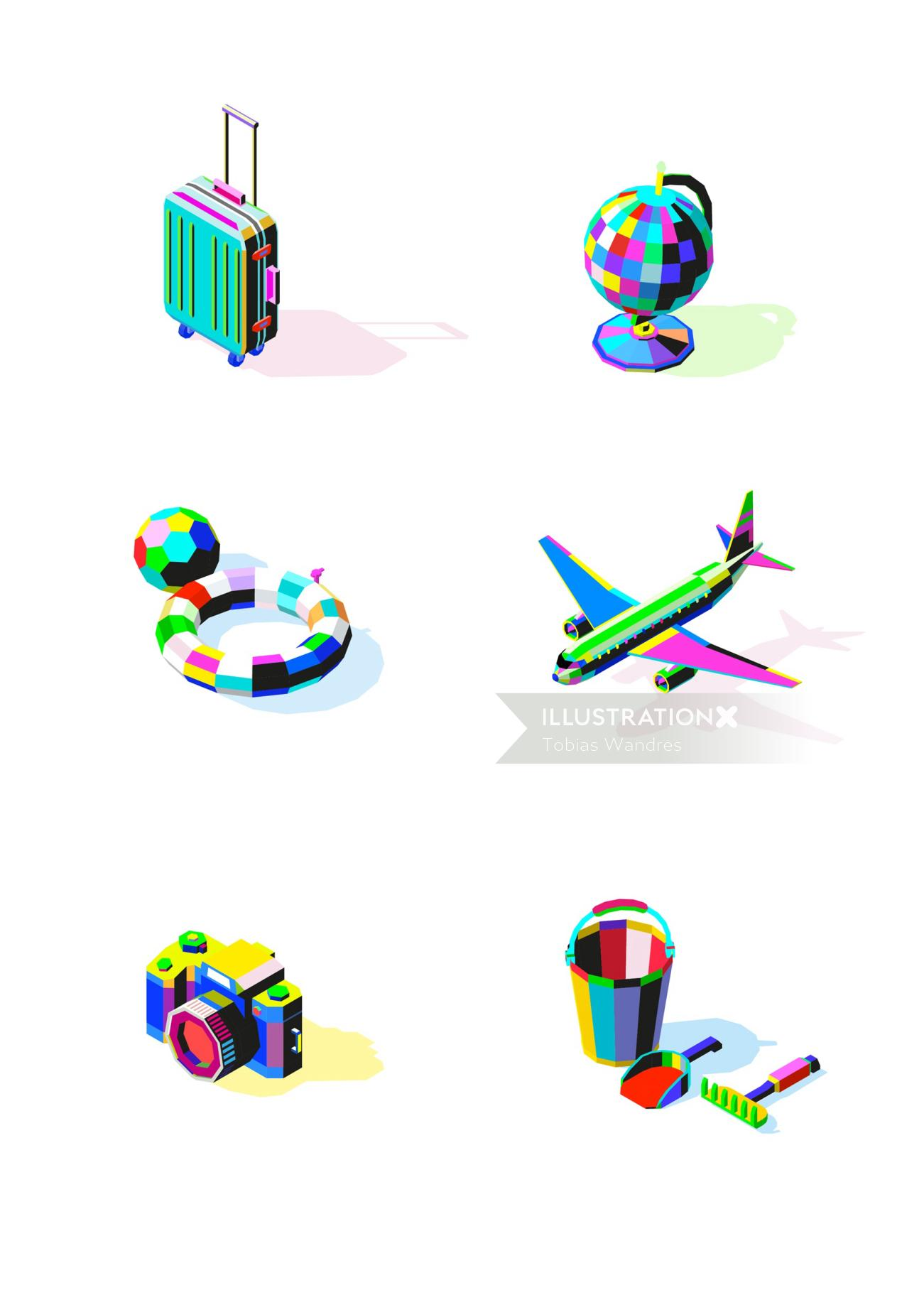 Kids toy icons illustration