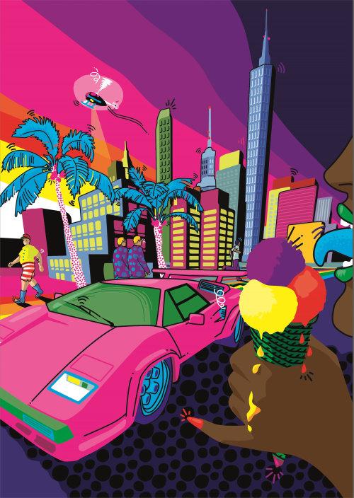 Modern city pop artwork