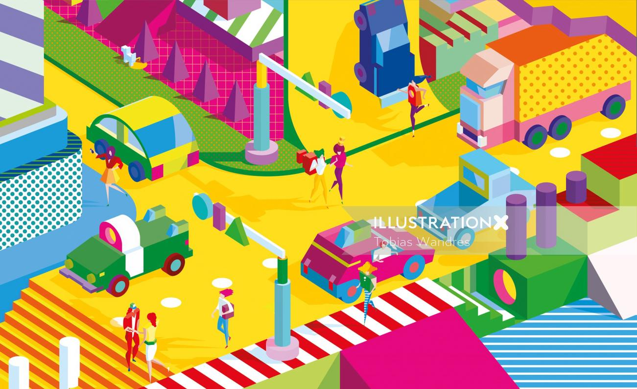 Vector art of colorful street