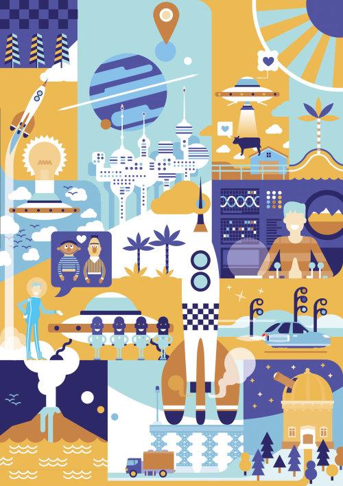 Space village vector illustration