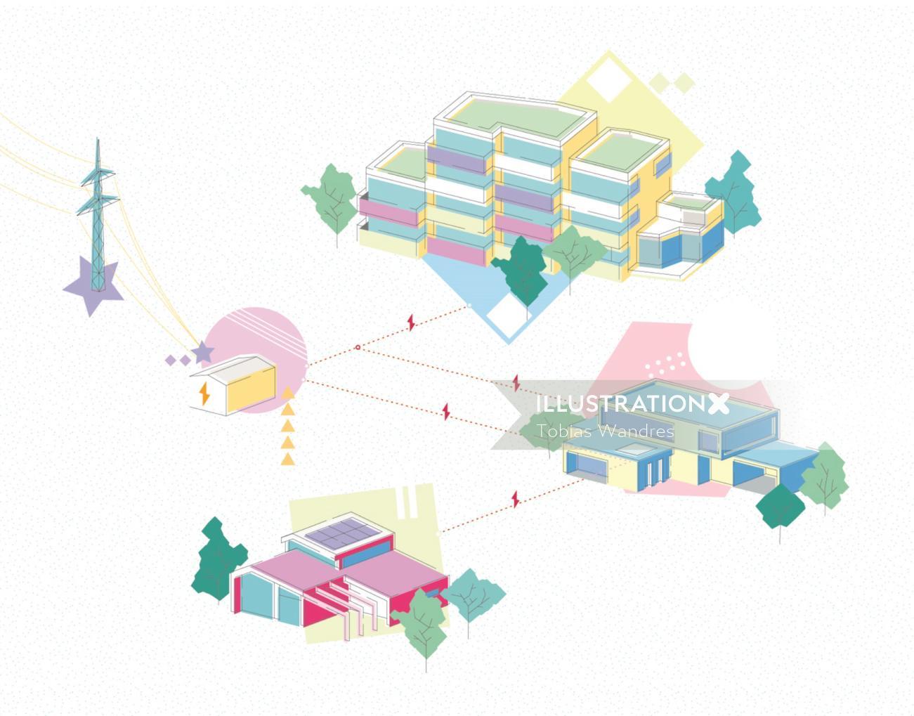 Infographic illustration of power station
