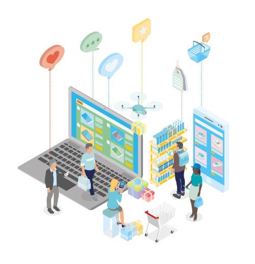 Infographic design of online marketing
