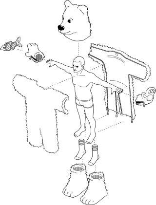 An illustration of exercising man