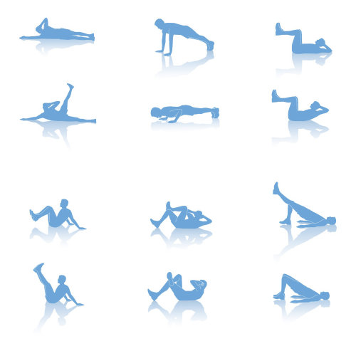 An illustration of exercise positions