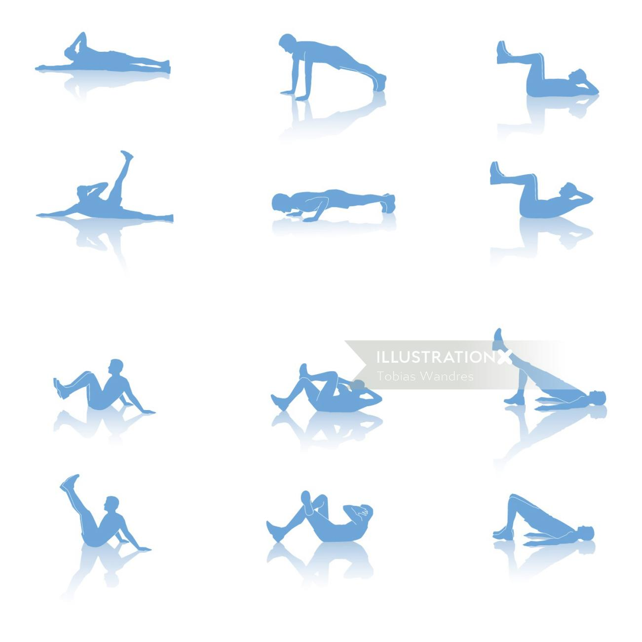 An illustration of exercise positions during coronavirus