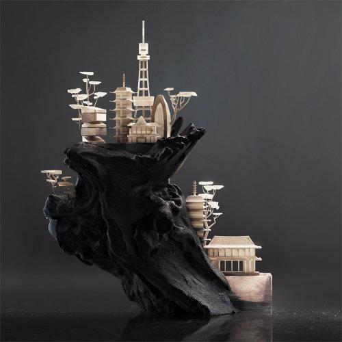Illustration d'architecture de maisons sur la colline