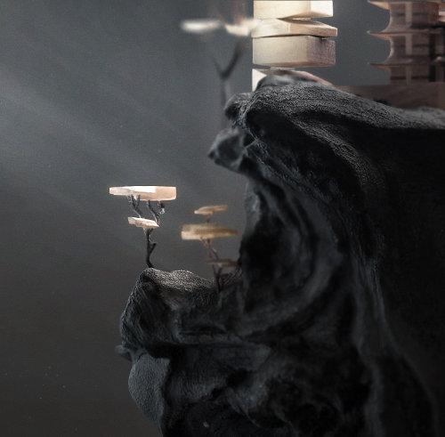Illustration de CGI de maison de colline en bois
