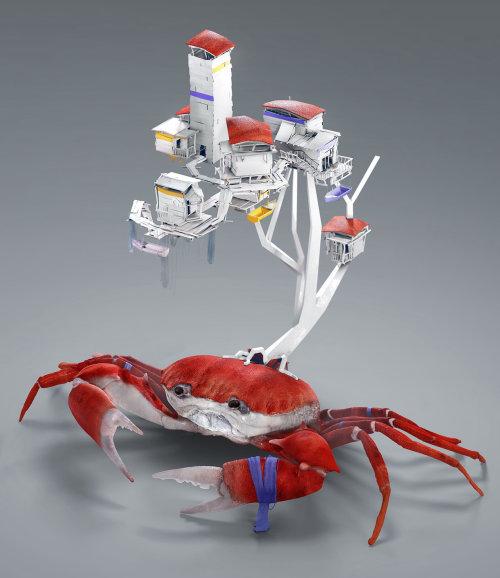 Illustration de rendu CGI de maison de crabe