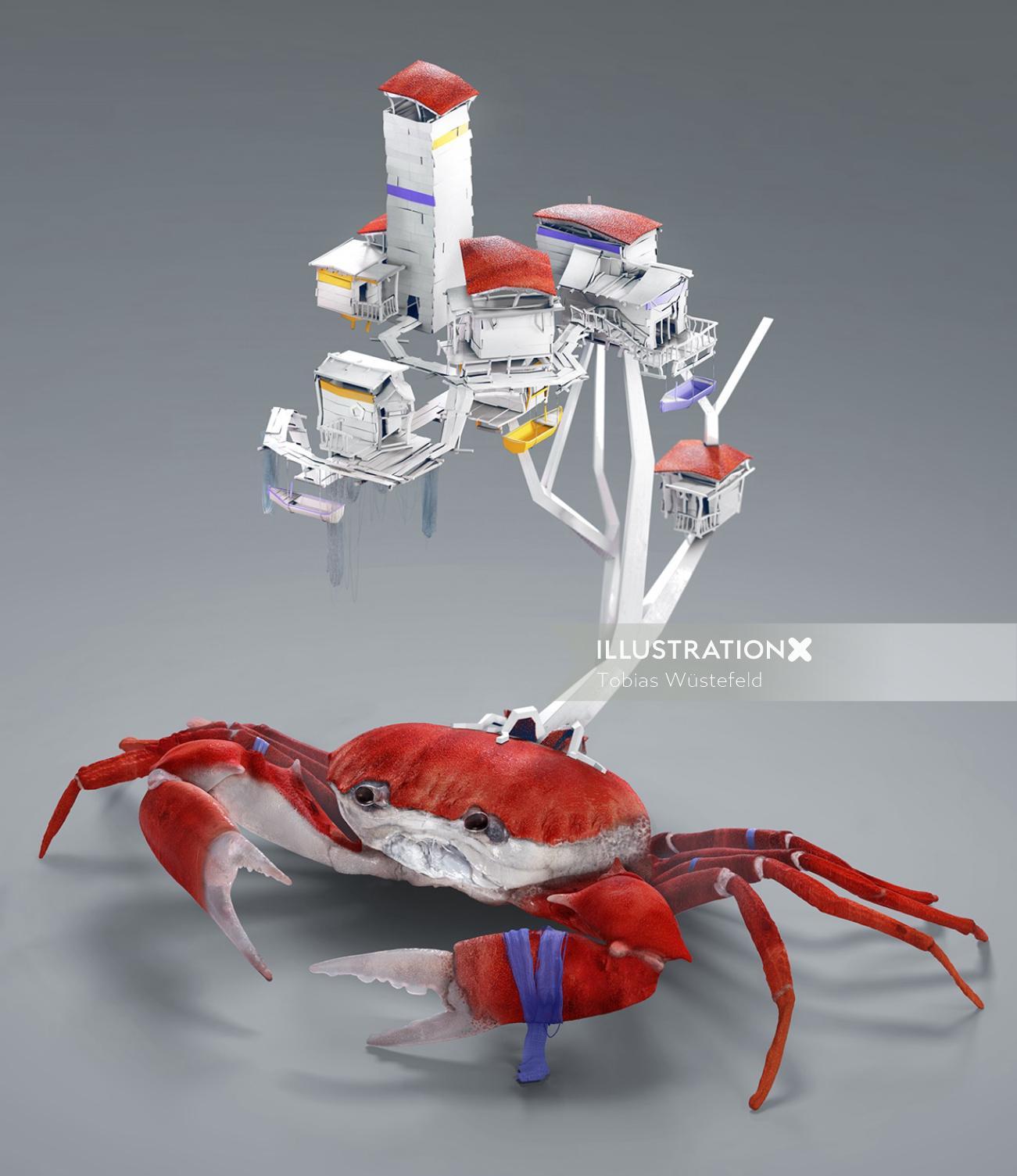 Cgi rendering illustration of crab house