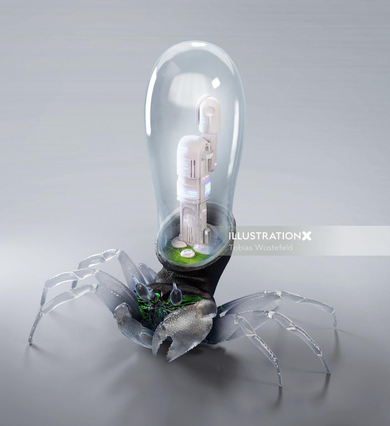 3d illustration of spider bulb