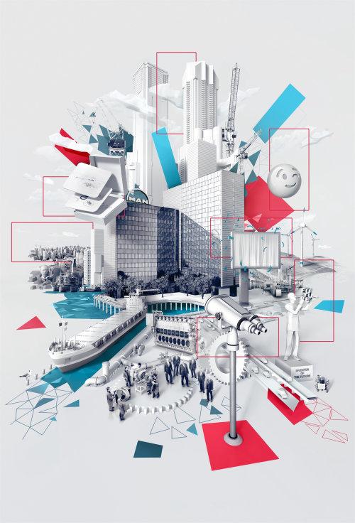 3d architecture illustration by Tobias Wüstefeld