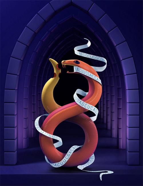 Animal illustration of snake biting tale