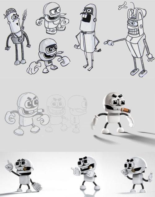 Conception de personnage de robot par Tobias Wüstefeld