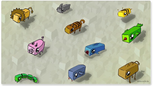 Cartoon illustration of animal stickers