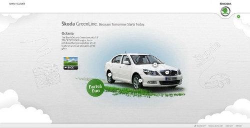 Technical illustration of scoda green line car