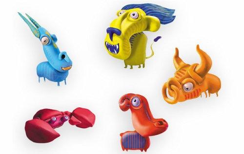 Conception de personnages 3d animaux monstres