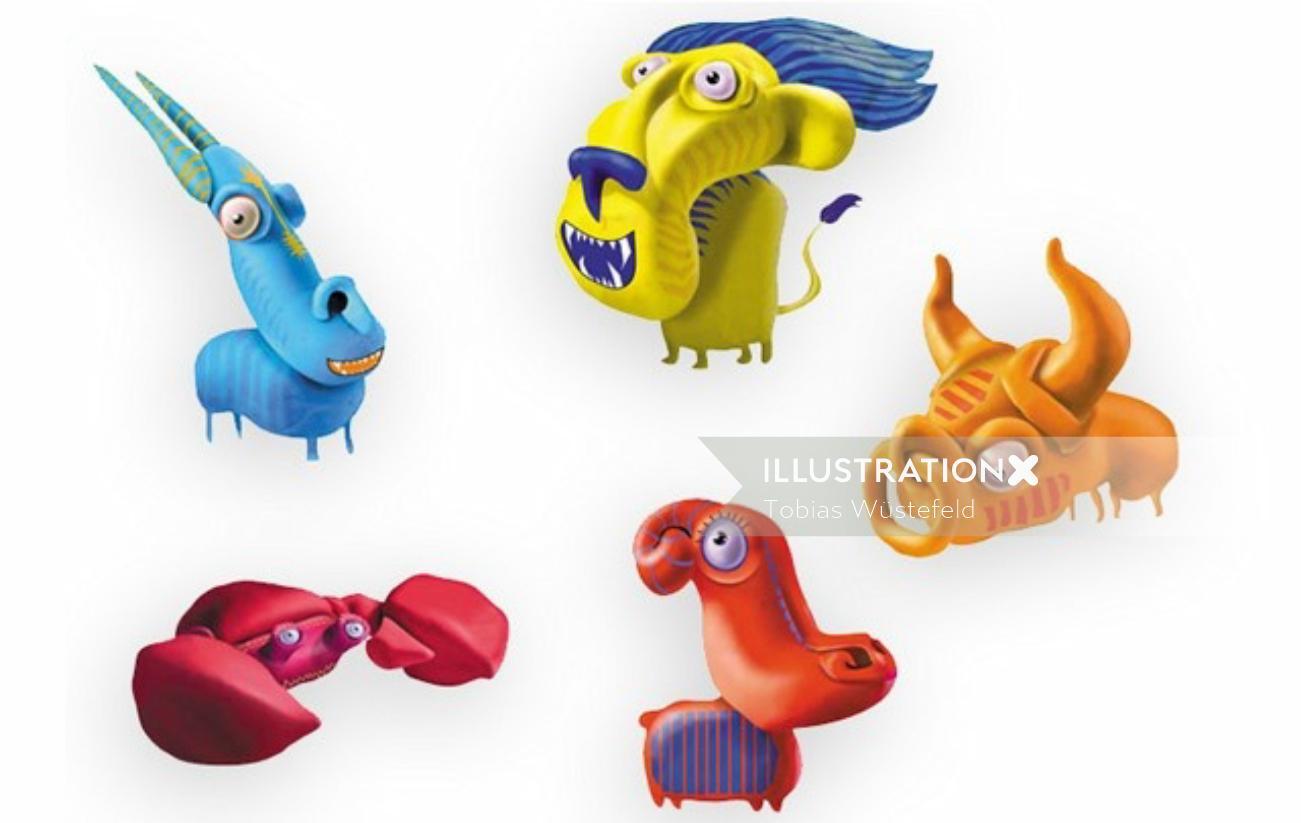 Monster animals 3d character design