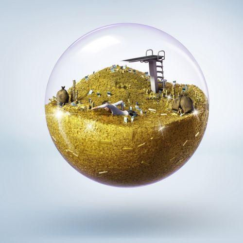 3d Illustration of treasure in glass ball