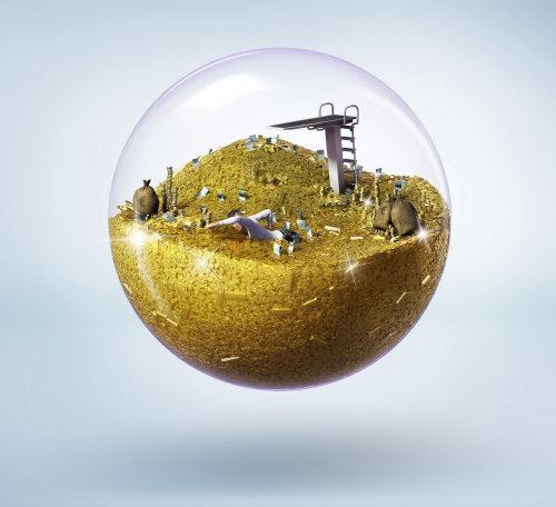 3d, illustration, de, trésor, dans, boule verre