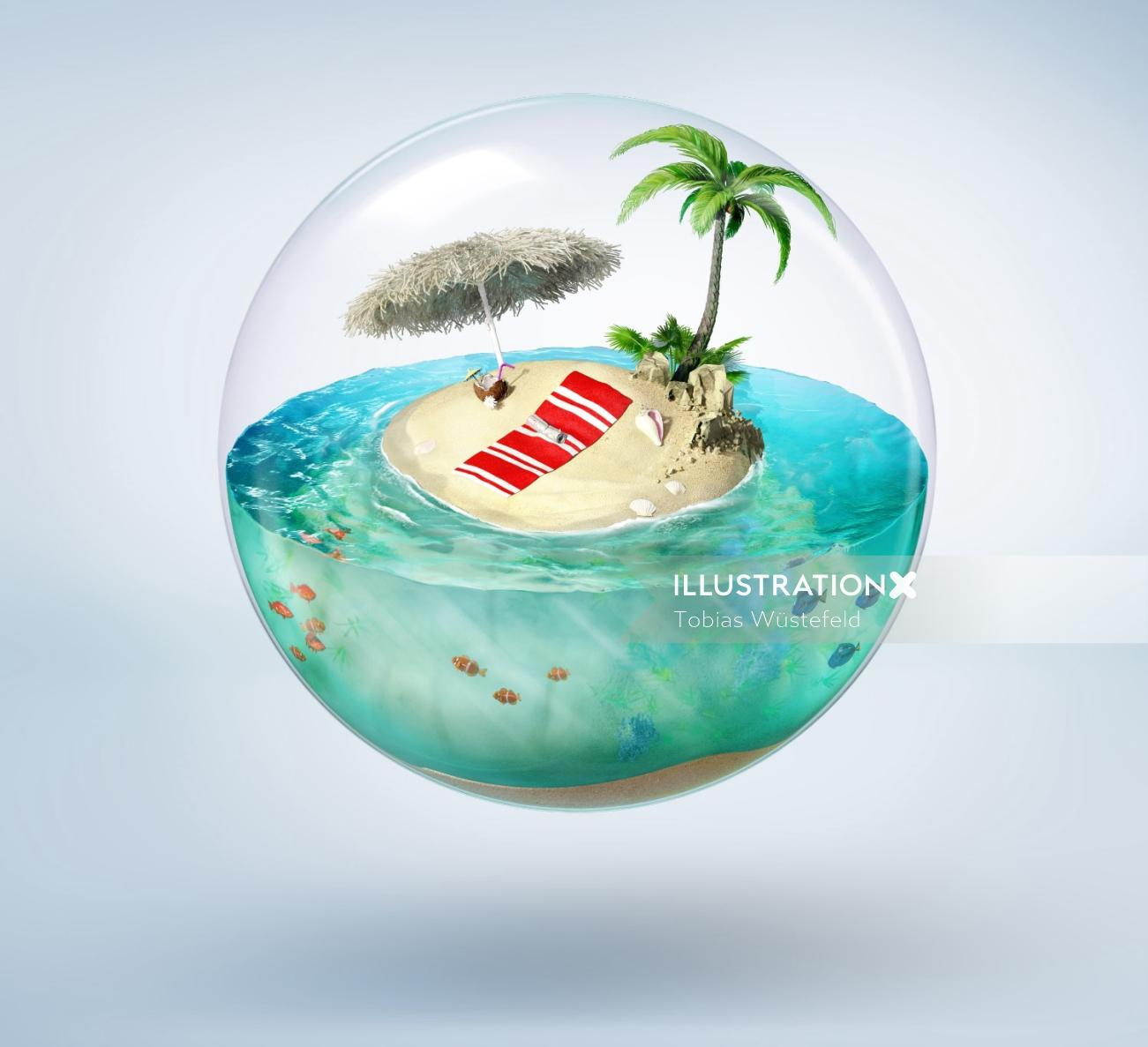 Nature illustration of Bubble Island