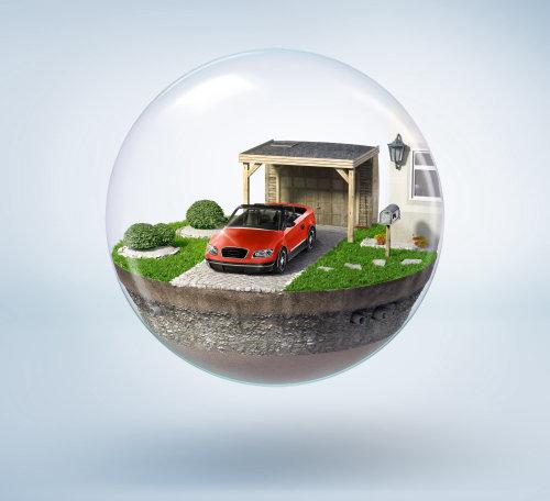 Illustration photoréaliste du parking à bulles