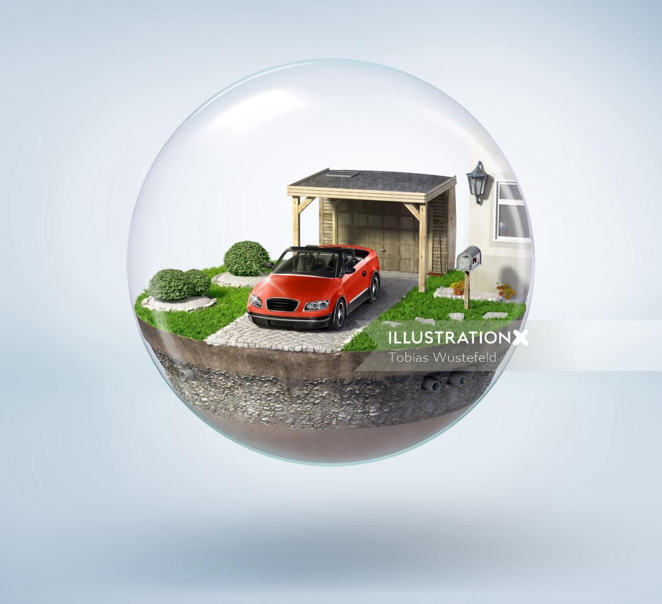 Photorealistic illustration of bubble car parking