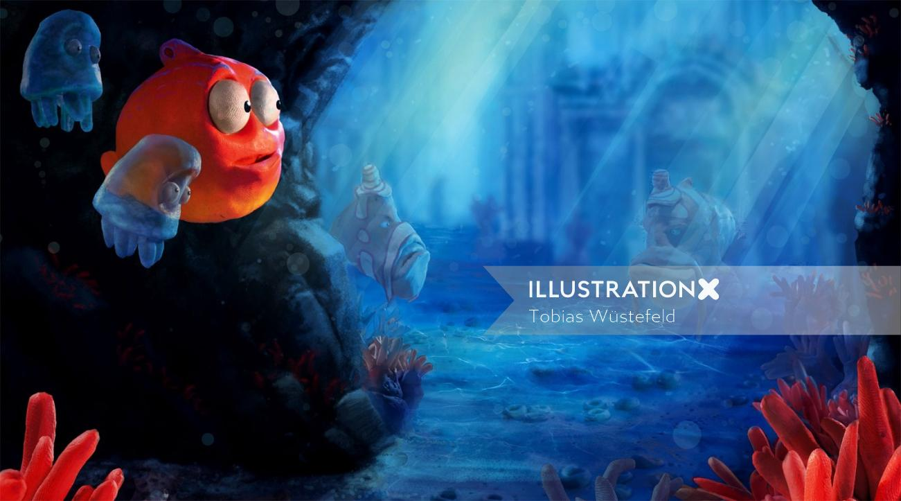 Underwater animals cartoon illustration